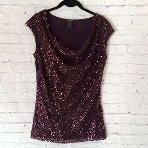 Ann Taylor factory sleeveless sequin plum blouse